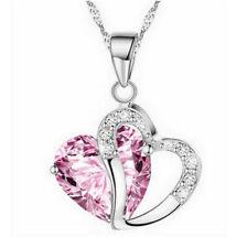 Fashion Women'S Pink Heart Rhinestone Silver Chain Pendant Necklace Jewelry
