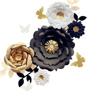 Fonder Mols 3D decoración de flores de papel (juego de 13, blanco negro oro)