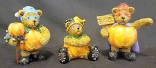 Trio of Halloween Teddy Bear Resin Figurines Dressed as Pumpkins for Halloween