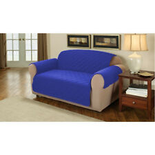 Blue Quilted Cotton 1 Seater Armchair Sofa Furniture Protector Slipcover Throw