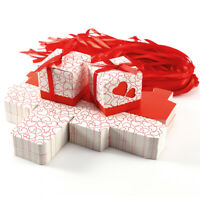 100 x Rot Herz Hochzeit Deko Geschenkbox Schachtel Kartonage mit Schleifenband