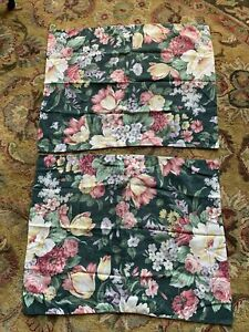 Shabby Chic Forest Green Yellow Pink Floral Pillow Shams Standard Pair (2)