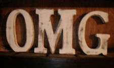 OMG  LARGE SHABBY CHIC VINTAGE WHITEWASH WOODEN LETTERS SIGN FREESTANDING 15CM