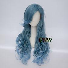 Curly Heat Resistant Long Dye Mix Blue Women Lolita + Braids Party Cosplay Wig