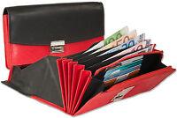 Rimbaldi® Leder Kellnerbörse mit extra verstärktem Hartgeldfach in Schwarz / Rot