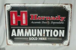 EMBOSSED HORNADY AMMUNITION SOLD HERE TIN WALL TACKER SIGN  VINTAGE STYLE