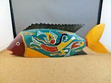"Vintage Hand Painted Carved Wood Fish Sculpture Figurine 13"" Long Mermaid Design"