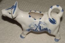 Rare Vintage Ceramic White & Blue Cow Creamer Dutch Windmill Hand Painted Flower