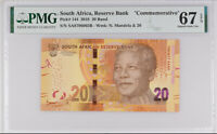 SOUTH AFRICA 20 RANDS 2018 COMM. P 144 SUPERB GEM UNC PMG 67 EPQ NEW LABEL