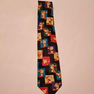 Vintage Winnie the Pooh Tigger Tiger Postage Stamp Mens Tie Black Orange Disney