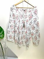 Forever New Tunic Top 14 Cotton Floral Crinkle Long Sleeves White