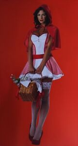Womens Sexy Little Red Riding Hood Halloween Costume Dress Fairy Tale M L XL NEW