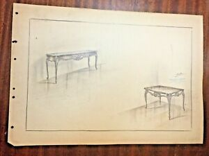 Antique interior design, drawing of a table, c.1940
