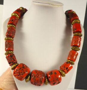 TIBETAN SHERPA CORAL BEAD CHOKER NECKLACE. Necklace length 22 inches