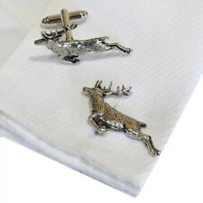 Silver Pewter Leaping Stag Cufflinks Handmade in England Cuff Links Stags New