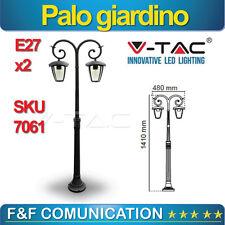 LAMPIONE LED PALO GIARDINO 140 CM LANTERNA SINGOLA NERO ALLUMINIO V-TAC E27