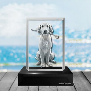 Personalised Gifts Uk - Engraved Photo Glass with your image  6cm x4cm - Boxed