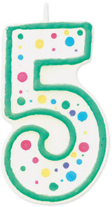 """Polka Dot Numeral Candle 3"""" 1/Pkg-#5 Green."""