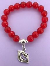 RED Crackle Glass Bead Bracelet - Silver Colour LIP LIPS Beauty Charm