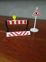 Playmobil Vintage : Lot pieces barrière de Signalisation travaux public chantier