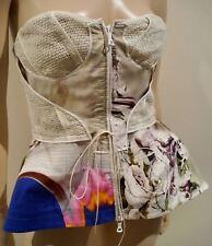 VERA WANG Cream & Multi-Colour Floral Print Strapless Boned Corset Top EU42 UK12