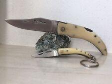 Couteau de poche CORSE Berger Corsica avec manche en os et son porte clé.