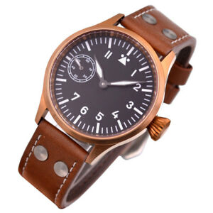 Corgeut Watch Bronze Case Sapphire Glass  Mens Mechanical 6497 Leather strap