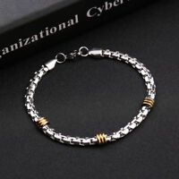 Fashion Unisex Punk Stainless Steel Chain Wristband Clasp Cuff Bangle Bracelet