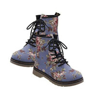 Women's Martin Boots Combat Military Leather Floral Low Heel Ankle Lace-Up Shoes