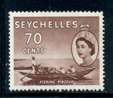 SEYCHELLES 185 SG183a MH 1956 70c vio brn QEII Defin Fishing Canoe Cat$8