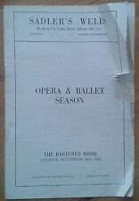 The Bartered Bride programme Sadler's Wells Opera Season 30th Sept 1952