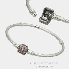 "Authentic Pandora Silver Bracelet Signature Clasp Fancy Pink CZ  7.5""  590723CZS"