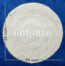 "Indian 24"" Door Foot Jute Mats Reversible Round Kitchen Floor Mat Home Decor Rug"