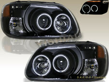 1995-2001 Ford Explorer Dual CCFL Halo LED Projector Headlights Black