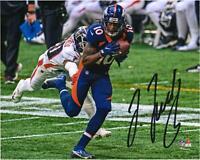 "Jerry Jeudy Denver Broncos Signed 8"" x 10"" Navy Jersey Running After Catch Photo"