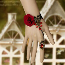 Gothic Vintage Black Lace Hand Harness Red Rose Bracelet Chain Ring Jewelry
