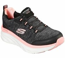 Skechers Walker Black Coral Shoes Women Sport Comfort Memory Foam Cushion 149012