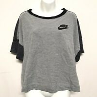Nike Womens XL Grey Black Crop Top Short Sleeve Athletic Sportswear Workout