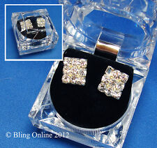NEW GIFT BOXED 12mm DIAMANTE CRYSTAL EARRINGS EAR STUDS WEDDING BRIDE PROM BLING