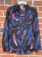 Express Portofino Blouse Boho Feather Black Pink Print Button Down Shirt Small