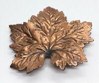 Vintage Brooch Pin Copper Leaf
