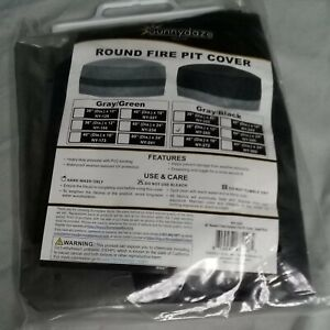 Sunnydaze 36in Gray/Black 2-Tone Round Outdoor Fire Pit Cover NY-265