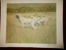 Robert White Large English Setter Signed Print Lithograph 44 of 600 Hunting Dog