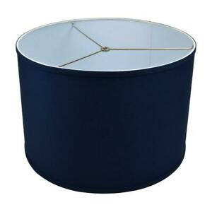 Fenchel Shades 18 in.x 18 in. x 12 in. Height Drum Lamp Shade - Linen Navy Blue