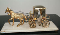 VINTAGE BRASS CAST HORSE AND HACKNEY CARRIAGE/CART