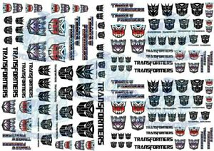 Transformers Decals   Waterslide Transfers for Model Cars in all scales