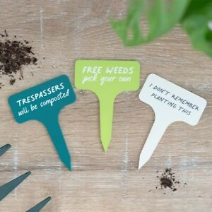 Set of 3 Funny Plant Markers, Little MDF Garden Labels, Great Gift
