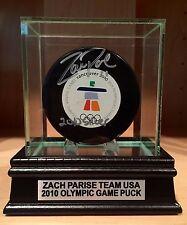 Zach Parise Signed 2010 Winter Olympic Game Hockey Puck PSA & SS COA USA Wild