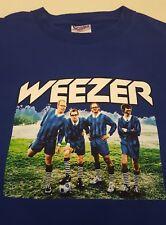 Weezer AUTOGRAPHED Enlightenment Tour 2002 Concert T-Shirt Royal Blue Mens L