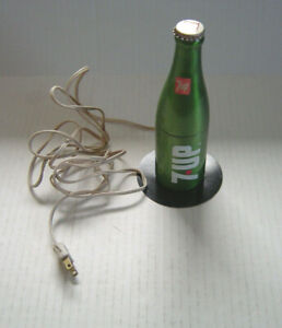 """Vintage 7UP Bottle Lamp The Uncola Portable Lamp Extends 15"""" Works Great"""
